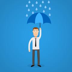 Business man in rain with umbrella.