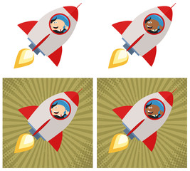 Happy Manager Launching A Rocket. Flat Style Collection Set
