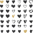 Leinwanddruck Bild - Heart Icons Set, hand drawn ions and illustrations for