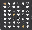 Heart Icons Set, hand drawn ions and illustrations for - 76977254