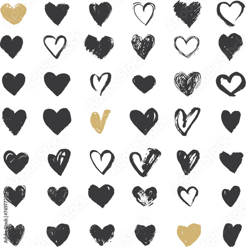 Heart Icons Set, hand drawn ions and illustrations for - 76977220