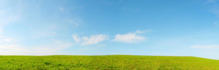 Collina panoramica con prato verde e cielo azzurro - Terra