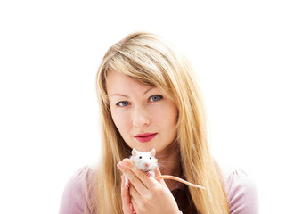woman holding a rat