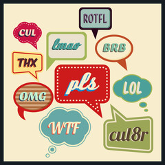 Speech bubbles with frequently used abbreviations