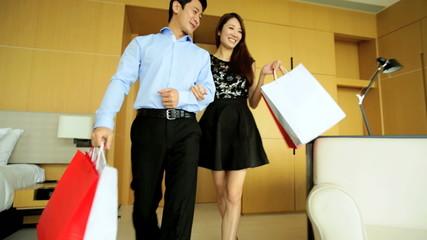 Male Female Couple Enjoyment Travel Vacation Hotel Luxury Designer Shopping