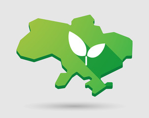 Ukraine green map icon with a plant