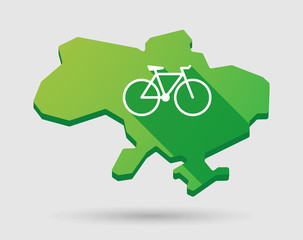 Ukraine green map icon with a bicycle