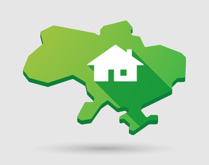 Ukraine green map icon with a house