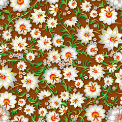 abstract white seamless floral ornament and shadows on a brown b