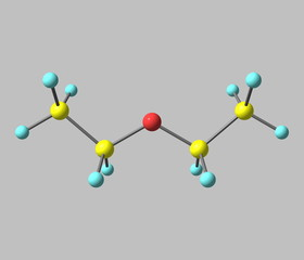 Diethyl ether molecule isolated on grey