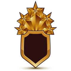 Sophisticated vector blazon with a golden star emblem, 3d polygo