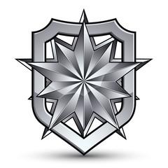 3d heraldic vector template with polygonal silver star, complica