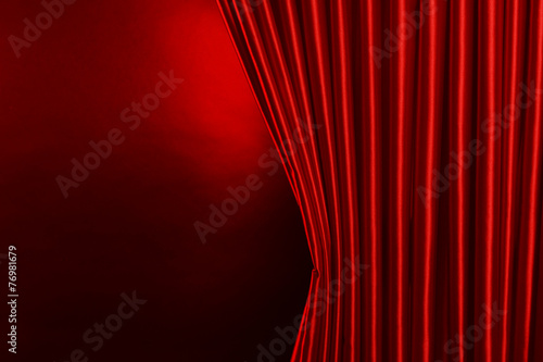 Red Curtain on red background - 76981679