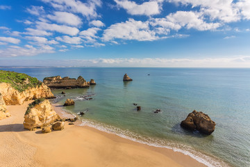 Beautiful sandy beach. The coast of Portugal, Algarve, Lagos.