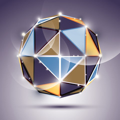 Abstract 3D facet festive sphere with sparkles, bright twinkle m