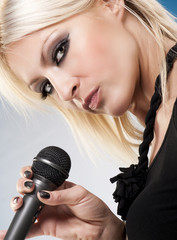 Close up of a woman singer