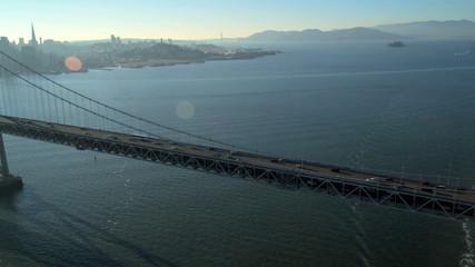 Aerial Oakland Bay Suspension Bridge, San Francisco,  USA