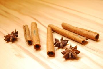 Cinnamon sticks and star anise