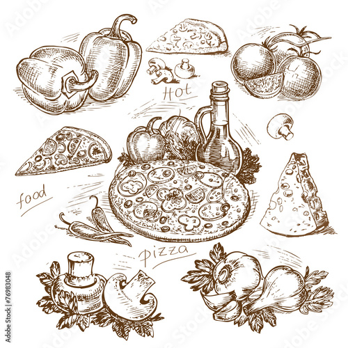 Spoed canvasdoek 2cm dik Restaurant hand-drawn pizza illustration