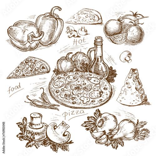 hand-drawn pizza illustration - 76983048