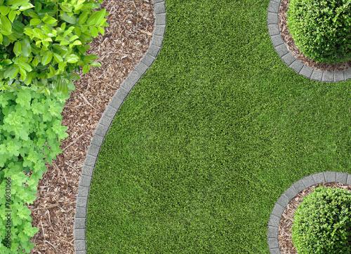 Fotobehang Tuin Garten, Rasen und Rindenmulch