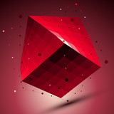 Spatial red squared technological shape, ruby wireframe object p - 76983231