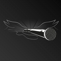 Black wings with a microphone