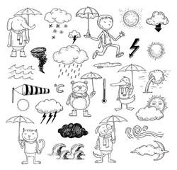 pet weather elements, vector illustration.