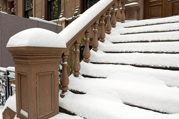 Entrance Staircase on Brownstone Apartment Building, Manhattan