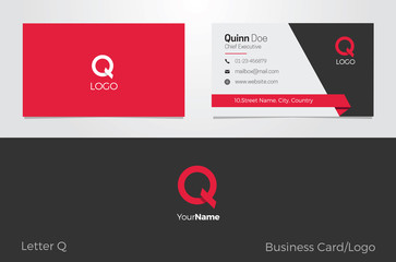 Q Letter Logo Corporate Business card