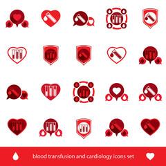 Cardiology and blood transfusion vector icons set, creative symb