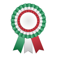 Award rosette with ribbon in Italian flag's colors