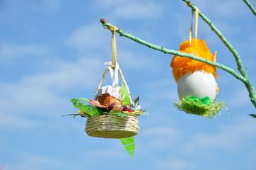 Easter eggs against the spring sky