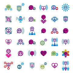 Peace and earth unusual vector icons set, creative symbols colle