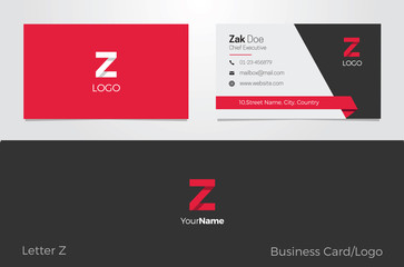 Z Letter Logo Corporate Business card