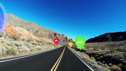 POV HUD Highway Driving Nevada America Satnav Technology Apps GPS CG