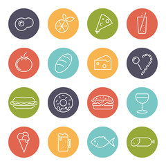 Food line icons in colored circles vector collection