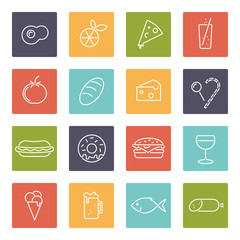 Food line icons in squares vector collection