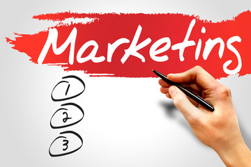 MARKETING blank list, business concept