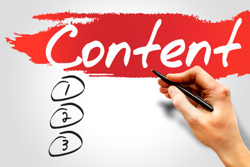 CONTENT blank list, business concept