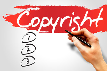 Copyright blank list, business concept