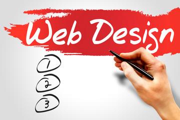 Web Design blank list, business concept