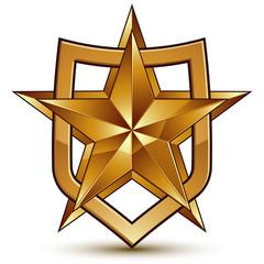 Branded golden geometric symbol, stylized golden star, best for