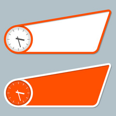 two orange boxes for entering text and watches