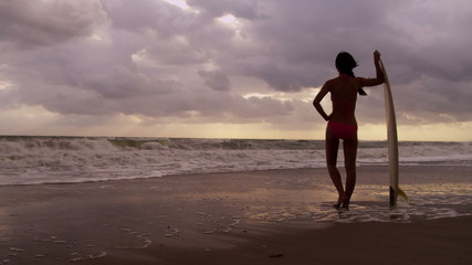 Healthy Young Surfing Female Living Outdoor Beach Lifestyle