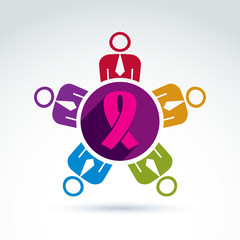 Breast cancer awareness idea. Group of people cooperating – in
