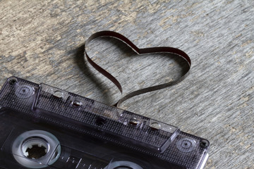 Audio cassette with heart magnetic tape abstract love concept