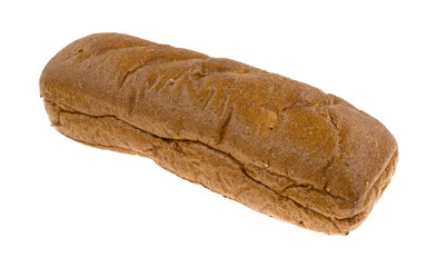 Whole wheat sub roll on a white background