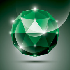 Abstract 3D emerald shiny sphere with sparkles, green glossy orb
