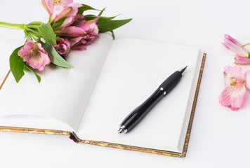 Valentines day, Mothers day concept. Love diary and flowers.